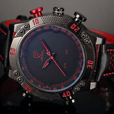 New SHARK Military LED Day Date Analog Army Sport Quartz Men's Leather Watch Red