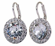 Swarovski Elements Crystal Round Halo Drop Pierced Earrings Rhodium Plated 7159z