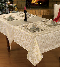 Christmas Table Linen / Decoration Red Gold Glitter Table Cloth / Sparkle Linen