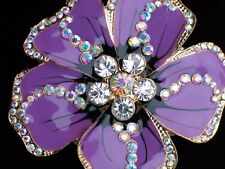 AB CLEAR RHINESTONE PURPLE HIBISCUS DOGWOOD PANSY FLOWER PIN BROOCH JEWELRY 2.5