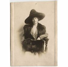 LADY WITH FUR HAND MUFF/STOLE AND GREAT HAT ANTIQUE PHOTO POST CARD