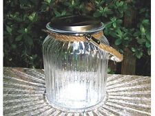 NEW SOLAR LED GLASS HANGING GARDEN ROPE JAR OUTDOOR TABLE DECORATION LIGHT LAMP