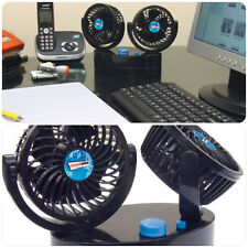 Black Compact Portable Double Cold Air Fan for Desk, Worktop, Office, Car & Home