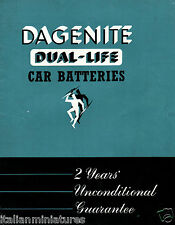 Dagenite Dual Life Car Batteries 1950 Sales Brochure Excellent Condition