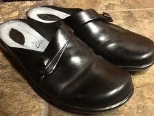 CLARKS WOMEN'S BLACK LEATHER FASHION CLOG FLATS SHOES SIZE 6.5M