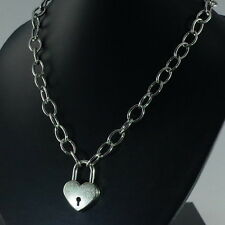 "Heart Padlock Pendant Charm Oval Link Chain Necklace (19.5"" Long) Silver"