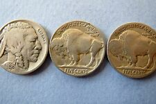 Complete 1936 P/D/S  MINTS, BUFFALO/INDIAN HEAD NICKELS, 3-Coin Lot Very Fine
