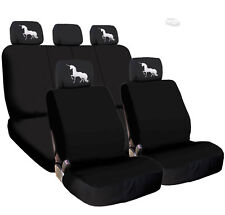 New Black Flat Cloth Car Seat Covers and Unicorn design Headrest Cover for FORD