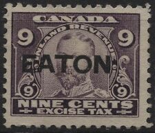 "Canada VanDam FX5a 9c violet Excise Tax Stamp with rare ""EATON"" precancel"