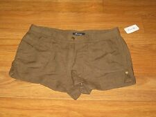 Forever 21 Olive Green Linen Cuffed Short Shorts Size Juniors 31 Large  NWT