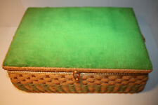 Vintage 1970's Grandma's Wicker Sewing Basket notions, thread accessories EUC