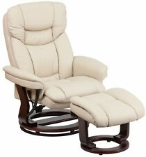 Beige Leather Swiveling Recliner with Ottoman Arm Chair Swivel Recliners Chairs