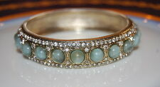LARGE BOLD RUNWAY LIGHT BLUE ACRYLIC STONES AND RHINESTONES BANGLE CUFF BRACELET
