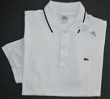 New Lacoste XXL 2XL 8 Lacoste Men's short sleeve polo shirt solid white top NWT