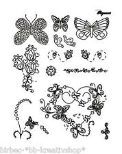 13 PERGAMANO Clear Stamps Silikon STEMPEL Schmetterlinge BUTTERFLY KISSES 1621