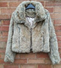 NEW LOOK Faux Fur Coat Jacket Large 14