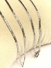 18k Solid White Gold Italian Small Flat Link Chain Necklace, 18Inches. 2.60Gram