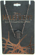 NEW DISNEY MALEFICENT Silhouette CAMEO MEDALLION Necklace Black HOT TOPIC PROMO