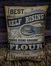 Primitive antique farmhouse label flour sack bag pillow old time kitchen country