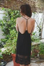 BLACK Lace Trim RACER BACK CAMISOLE Tank Top Long Slip DRESS EXTENDER Small