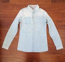 NWT New G-Star RAW Boyfriend Button Down Shirt Light Denim Jacket Size XS