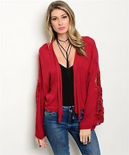 COWGIRL GYPSY  BOUTIQUE CARDIGAN SHRUG OPEN TOP RED CROCHETED LACE NWT MEDIUM