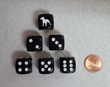 DICE  *6/SET* CHX CUSTOM PIT BULL TERRIERS ON 16mm OPAQUE BLACK w/WHITE DOG #1