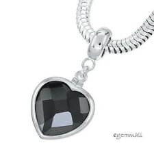Sterling Silver Black CZ Heart Charm Stopper Fit European Bracelet #94253