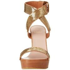 $550 STUART WEITZMAN NIB 7.5 METAL MANIA GOLD ROMAN PLATFORM WEDGE SANDALS ALEX