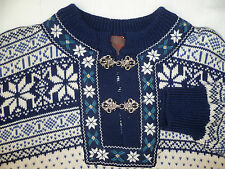 VINTAGE NORDIC FOLK JUMPER BY CHRISTIANA SWEATERS L CREAM & BLUE JUMT616