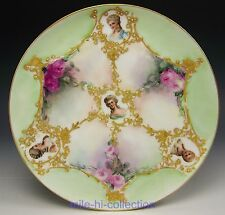 LIMOGES HAND PAINTED ROSES RAISED GOLD, JEWELS LADY PORTRAITS CABINET PLATE
