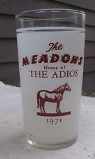 Vintage Adios Glass,The Meadows Race Track,1971,harness racing,winners -horse