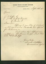 GRAND TRUNK RAILWAY signed 1898 letter by agent Sumner Hopkins * Canada Railroad