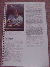 Rollie Fingers 1988 Baseball Card Engagement Book w/ 1986 Donruss