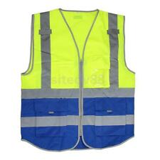 Hi-Vis Safety Vest With Zipper Reflective Jacket Waistcoat 4 Pockets