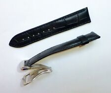 22mm Black Band Strap Alligator-Style with Deployment Clasp