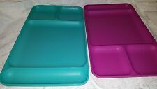 Vintage Tupperware Teal Magenta TV Trays Lunch Trays Compartments lot of 2
