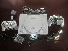 PS1 Playstation with 2 Controllers, Mega Memory Card and cords - Working