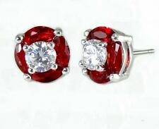 Ruby Red Clear CZ Post Earrings Halo Silver Rhodium Brass Stud Petite Sparkling