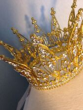 10 Cms Tall Gold With Silver Rhinestones Crown . Full Crown . Pageant /wedding