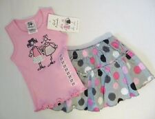 NEW Girl Friends By ANITA G Girl's 2 PC Set Shirt & Skort Pink/Gray Polka Dot 4T