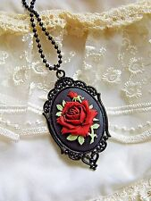 CHRISTMAS XMAS WEDDING GOTHIC JEWELRY CAMEO RED ANTIQUE ROSE PENDANT NECKLACE