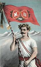 ATHLETE WITH COAT OF ARMS FLAG OLYMPICS MOUNTAINS SWITZERLAND POSTCARD c. 1910