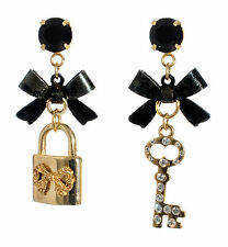 BETSEY JOHNSON Iconic Lock & Heart Key Mismatch Black Bow Gold-Tone Earrings