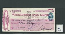 wbc. - CHEQUE FORM - USED -1930's -CHQ05-  WESTMINSTER BANK - TAUNTON