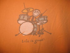 LIFE IS GOOD Mens L/XL T-Shirt DRUMMER Musician Music RARE Rocker Drum Orange