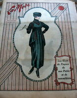VTG 1910s PARIS FASHION & SEWING PATTERN MAGAZINE LA MODE 1918