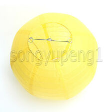 8 Pcs Round  Yellow  Paper Lanterns Lamp Birthday Wedding Party Decoration 12""