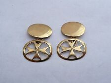 SUPERB 18CT SOLID GOLD PAIR OF MALTESE CROSS OVAL CHAIN LINK CUFFLINKS 4.9 GRAMS