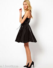FRENCH CONNECTION FCUK sequin black flared skater mini party dress BNWT 6 8 £185